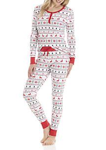 Fairisle Womens 2-Piece Pajama Set
