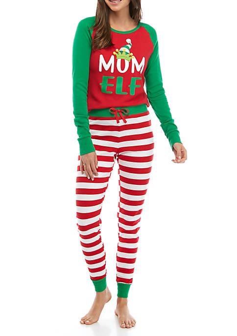 Joyland Womens Red Elf 2 Piece Pajama Set