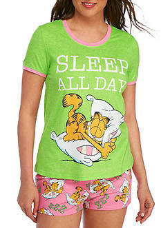Briefly Stated Garfield Shirt And Boxer Pajama Set