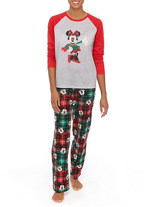 Disney® Mickey and Minnie Womens 2 Piece Pajama