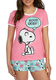Briefly Stated Peanuts Shirt And Boxer Pajama Set