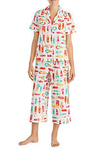 2-Piece Short Sleeve Lawn Crop Pajama Set