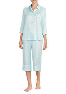 2-Piece Three-Quarter Sleeve Crop Pajama Set