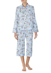 2-Piece Long Sleeve Sateen Cat Pajama Set