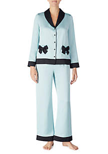 2-Piece Charmeuse Bow Pocket Pajama Set