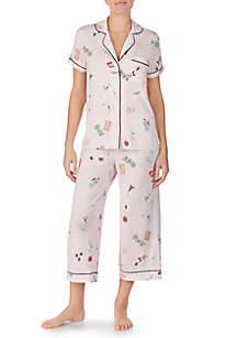 kate spade new york® 2-Piece Notch Collar Capri Pajama Set