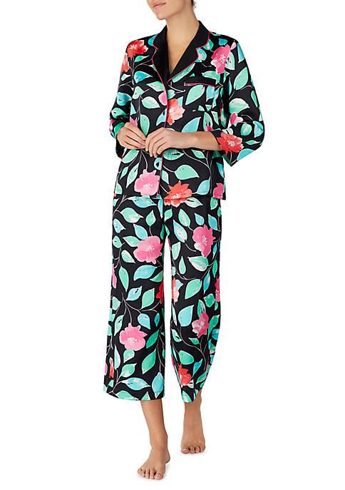 2-Piece Charmeuse Cropped Pajama Set