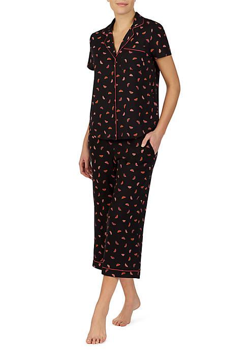 Short Sleeve Knit Cropped Pajama Set