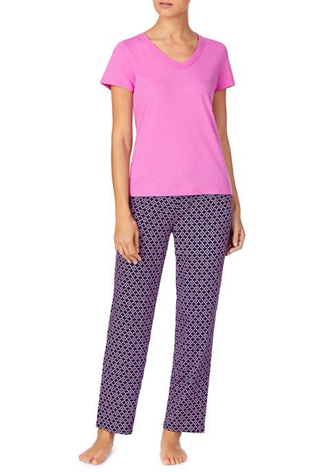 Short Sleeve V-Neck Pajama Set