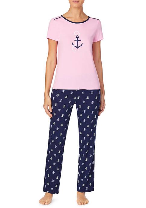 Short Sleeve Scoop Neck Pajama Set