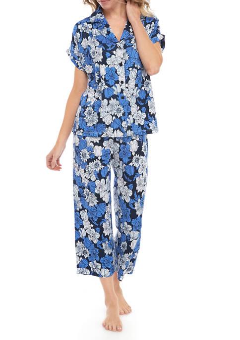 Jones New York Womens Floral Jersey Capri Pajama