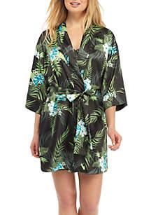 Short Tropical Satin Robe