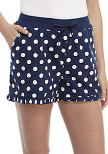 Polka Dot Flannel Sleep Shorts