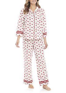 2-Piece Flamingo Button Down Pajama Set
