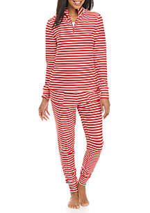 2-Piece Red and White Stripe Jacket and Pant Pajama Set