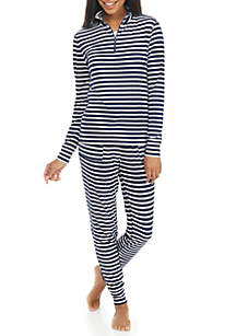 2-Piece Blue and White Stripe Jacket and Pant Pajama Set