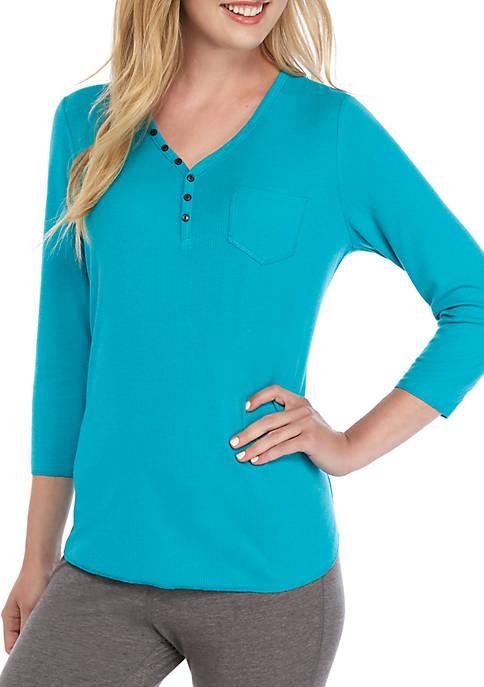 Crown & Ivy™ 3/4 Sleeve Henley Sleep Shirt
