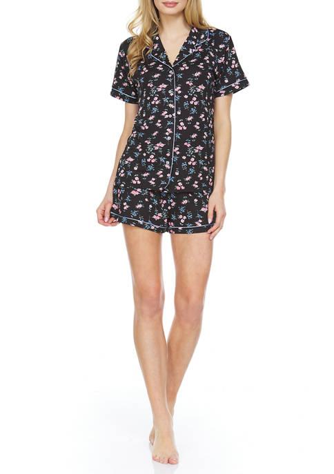 2 Piece Knit Notch Pajama Set