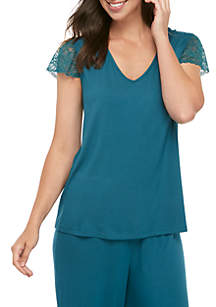 Kaari Blue™ Lace V Neck T Shirt