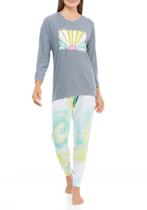 Crown & Ivy™ Long Sleeve Joggers Pajama Set
