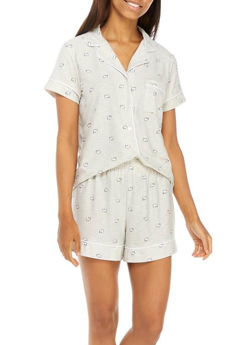 Printed Notch Pajama Set
