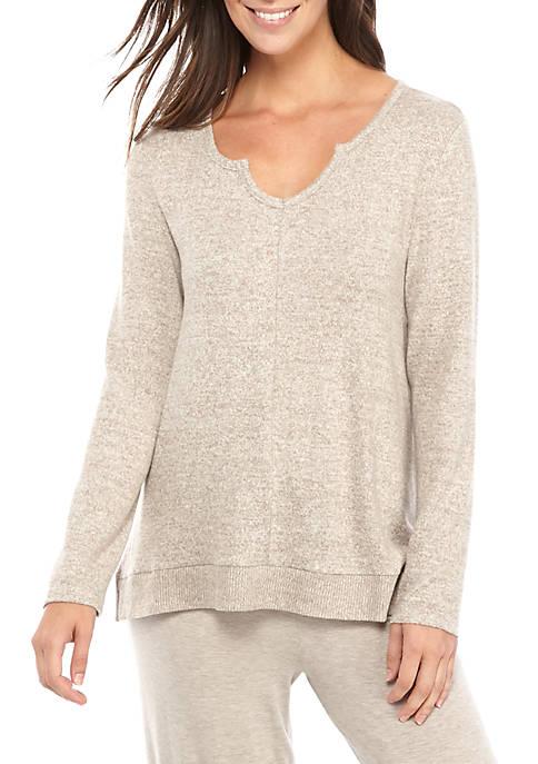 Cozy Marled Hacci Knit Pajama Top