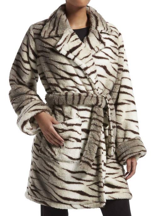 KENDALL + KYLIE Zebra Fuzz Trench Wrap Robe
