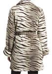 Zebra Fuzz Trench Wrap Robe