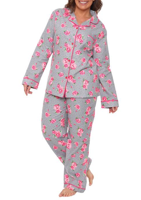 Plus Size 2 Piece Flannel Pajama Set