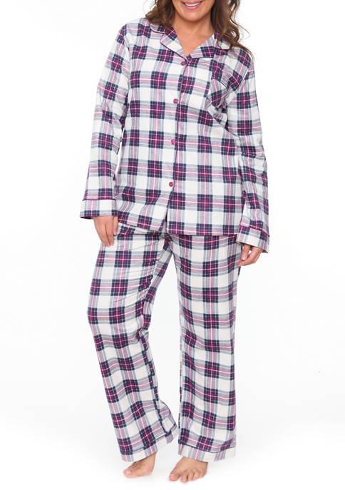 White Mark Plus Size 2 Piece Flannel Pajama