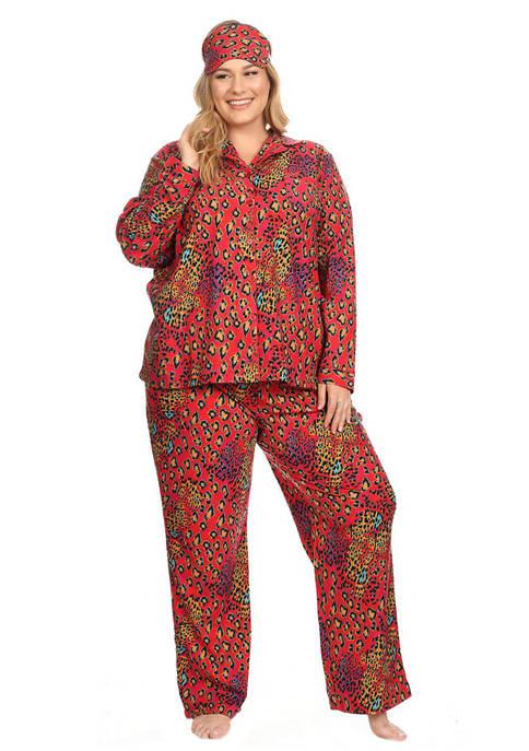 Plus Size 3 Piece Pajama Set