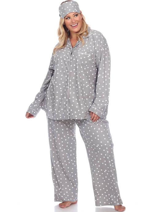 White Mark Plus Size 3 Piece Pajama Set