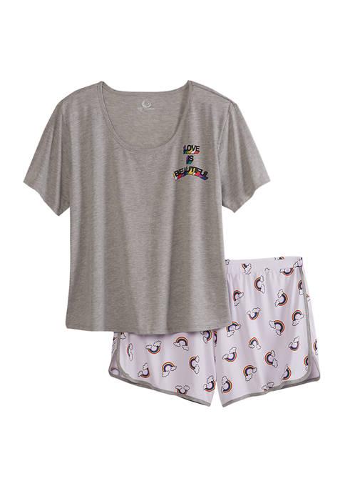 PJ Couture Rainbow Rib Short Pajama Set