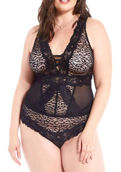 Plus Size Bella Floral Lace and Mesh Plunge Bodysuit