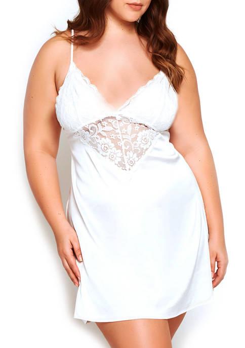 iCollection Plus Size Elissa Breezy Lace Chemise
