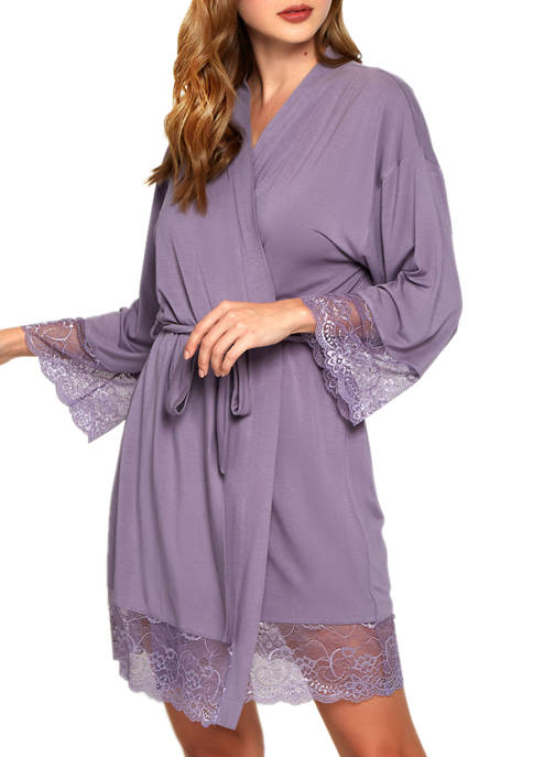 iCollection Long Sleeve Robe with Lace Trim