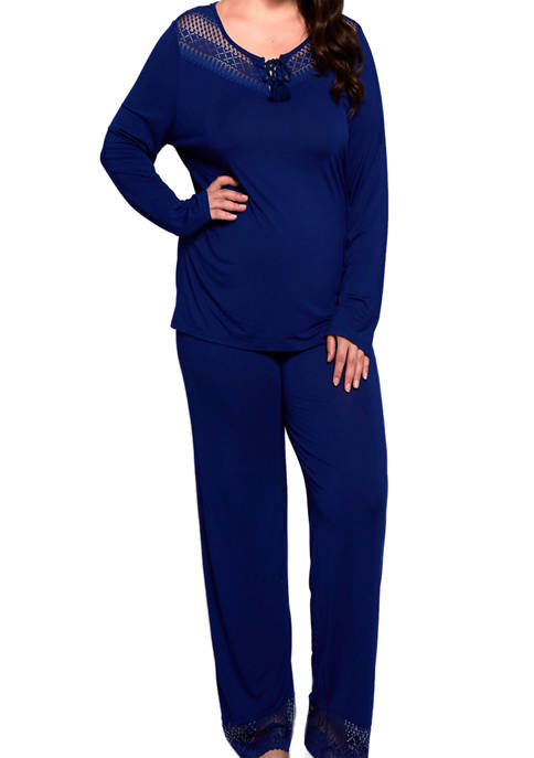iCollection Plus Size Pajama Set with Lace Trim