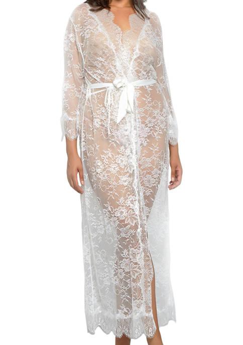 Plus Size Rowena Long Lace Robe