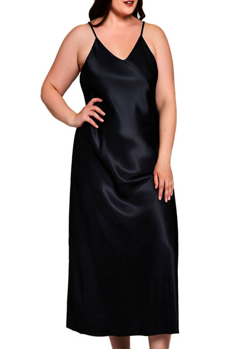 Plus Size Satin Long Gown