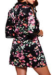 Plus Size Front Tie Satin Print Robe with Lace