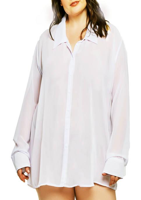 iCollection Plus Size London Boyfriend Sleep Shirt