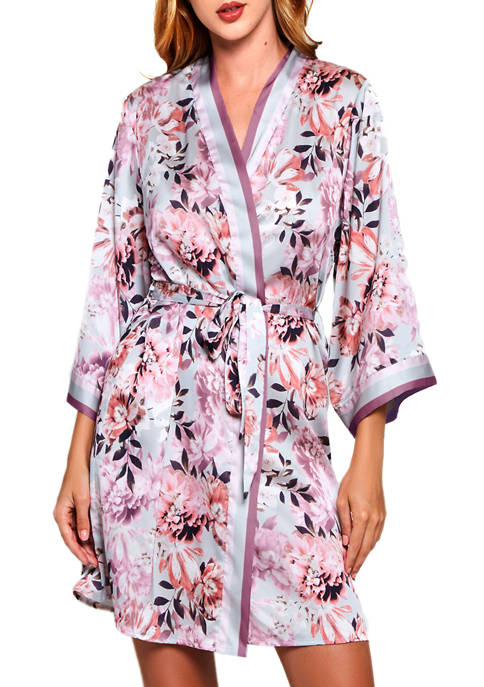 iCollection Floral Print Satin Robe