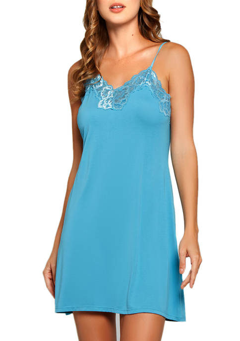 iCollection Joslyn Lace Trimmed Fitted Chemise