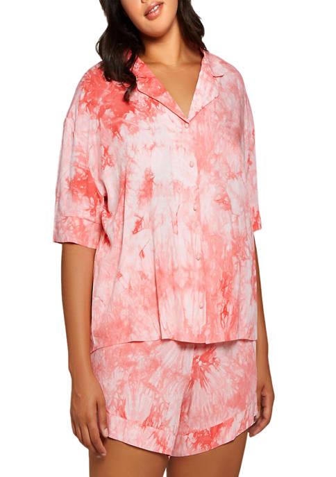 Plus Size Lola Tie-Dye Rayon Pajama Shorts Set