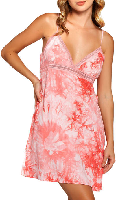 iCollection Lola Tie-Dye Dress Trimmed in Lace