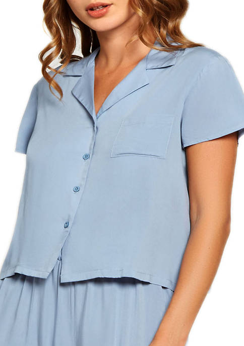 iCollection Trina Soft Washed Rayon Short Sleeve Shirt