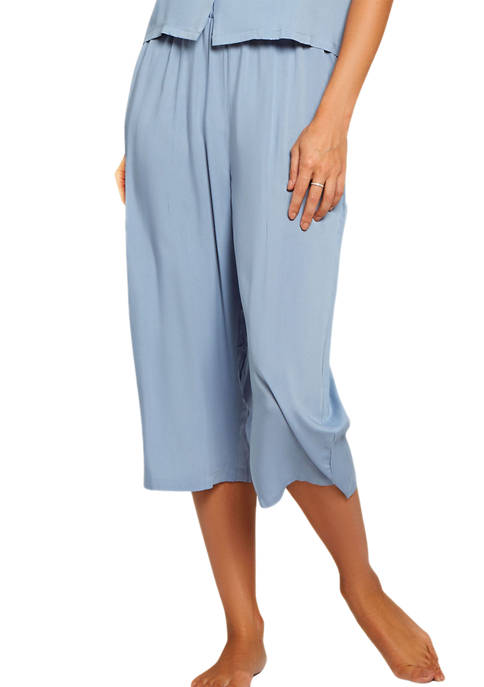iCollection Trina Soft Washed Rayon Wide Leg Capris