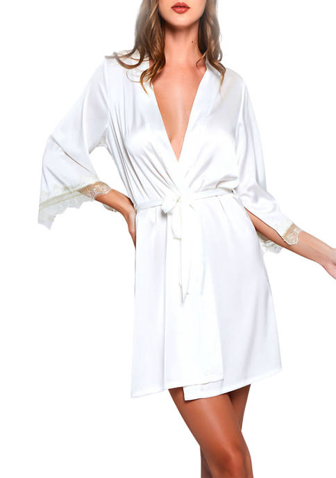iCollection Carly Viscose Robe with Gold Lace