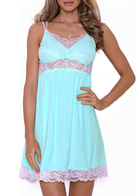 iCollection Katelyn Modal and Lace Babydoll Chemise
