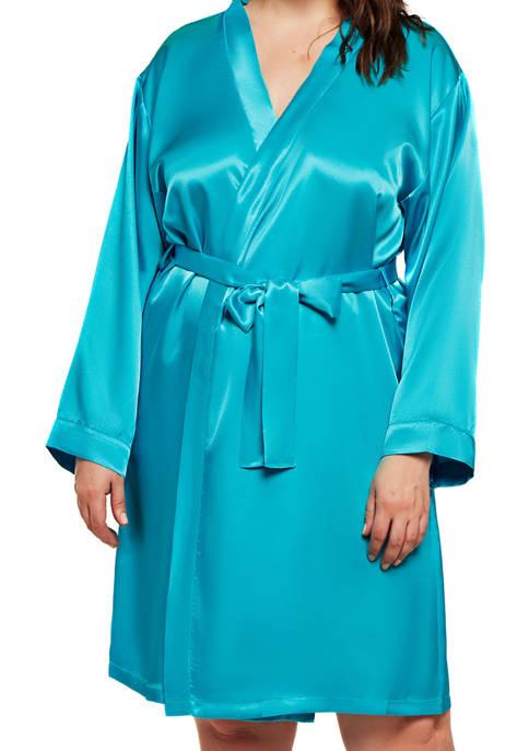 iCollection Plus Size Marina Lux Satin Robe